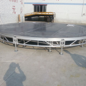 plywood red Round Stage with carpet