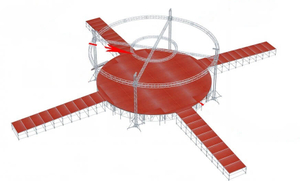 truss wooden red Round Stage