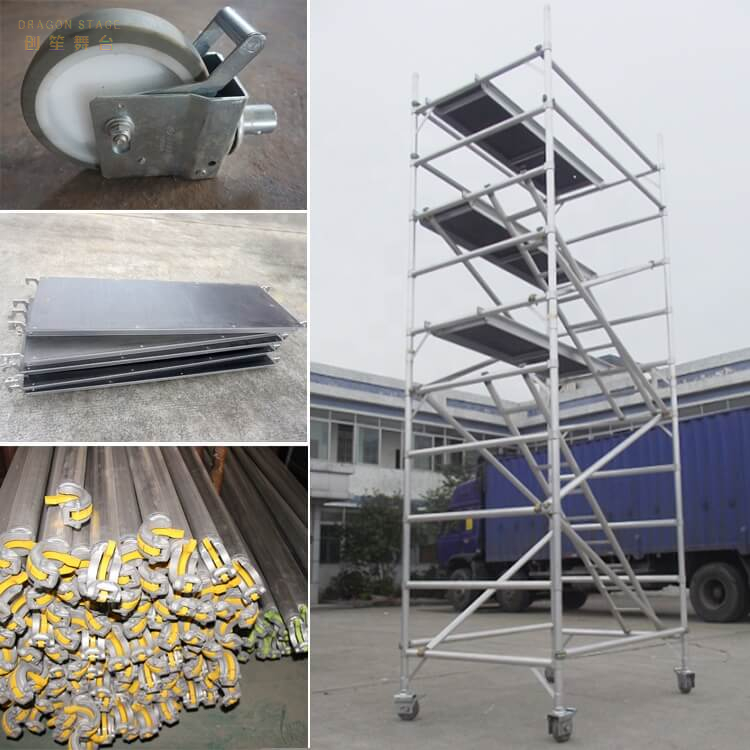 Portable Mobile Double scaffolding with step ladder
